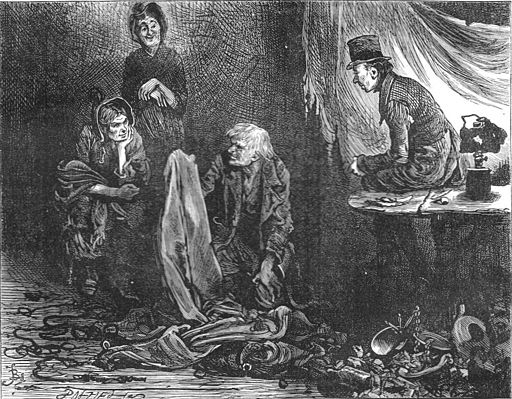 Scrooge's_charlady_and_laundrywoman_joining_the_undertaker's_man_to_pawn_his_belongings,_by_Fred_Barnard