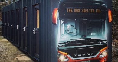the bus shelter